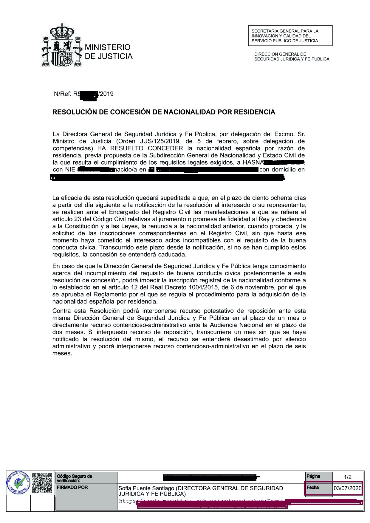 PFBERNAL ABOGADO EXTRANJERIA CONCESION NACIONALIDAD